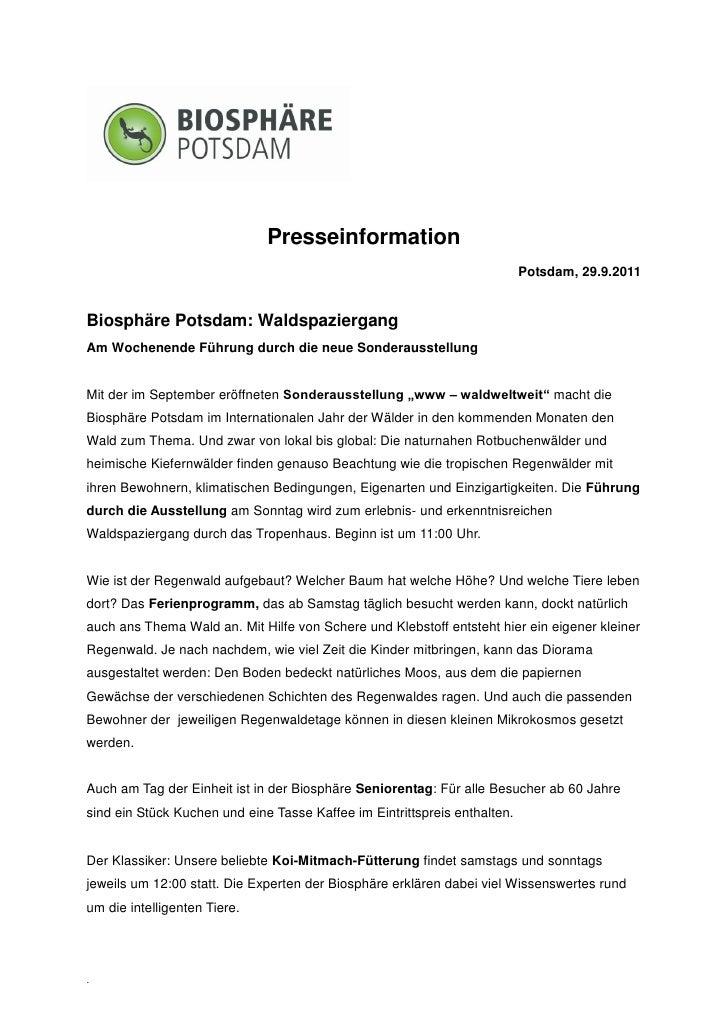 Presseinformation                                                                           Potsdam, 29.9.2011Biosphäre Po...