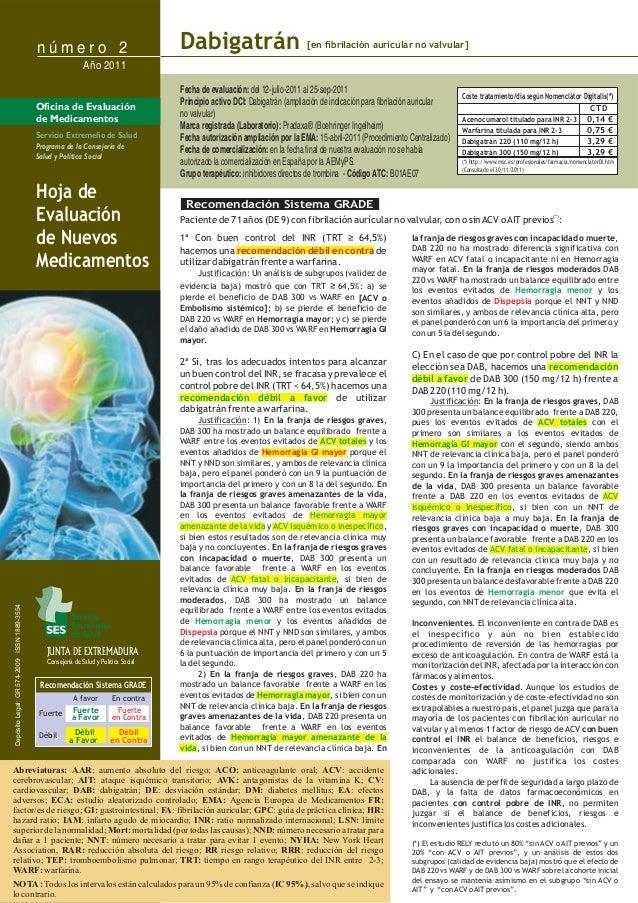 n ú m e r o 2 JUNTA DE EXTREMADURA Consejería de Salud y Política Social Fecha de evaluación: Principio activo DCI: Marca ...