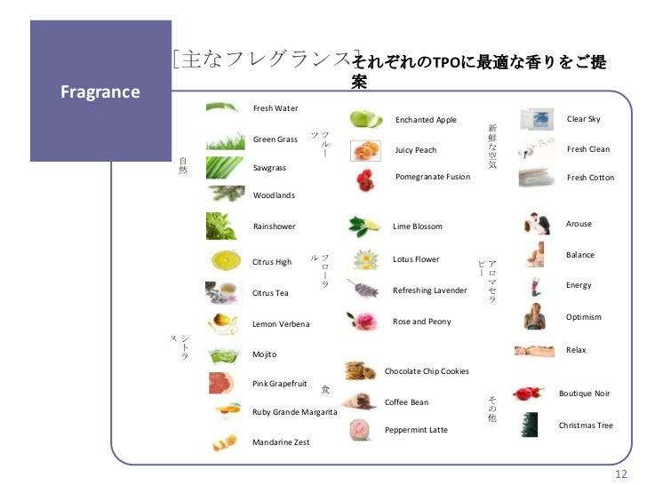 [主なフレグランス]                     それぞれのTPOに最適な香りをご提                                         案Fragrance                 Fresh ...