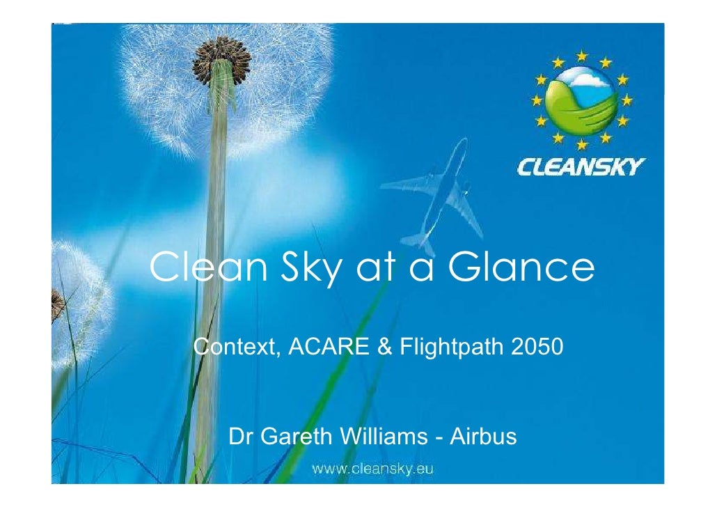 Clean Sky at a Glance  Context, ACARE & Flightpath 2050                                     1     Dr Gareth Williams - Air...