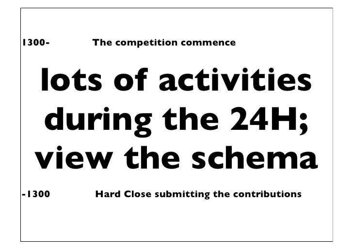 1300-   The competition commence  lots of activities  during the 24H;  view the schema-1300   Hard Close submitting the co...
