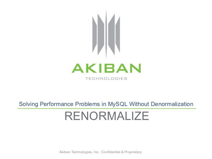 Solving Performance Problems in MySQL Without Denormalization                 RENORMALIZE              Akiban Technologies...