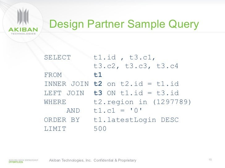 Design Partner Sample QuerySELECT     t1.id , t3.c1,           t3.c2, t3.c3, t3.c4FROM       t1INNER JOIN t2 on t2.id = t1...