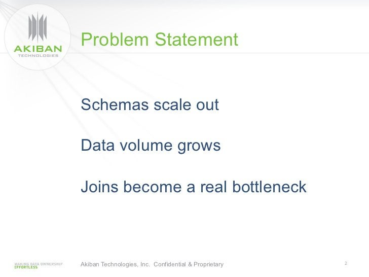 Problem StatementSchemas scale outData volume growsJoins become a real bottleneckAkiban Technologies, Inc. Confidential & ...