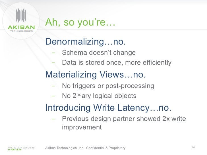 Ah, so you're…Denormalizing…no.    - Schema doesn't change    - Data is stored once, more efficientlyMaterializing Views...