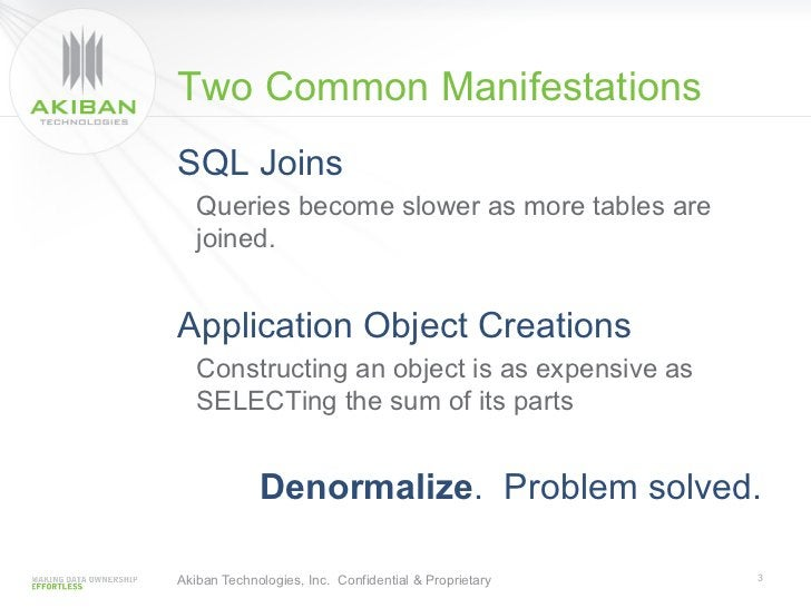 Two Common ManifestationsSQL Joins   Queries become slower as more tables are   joined.Application Object Creations   Cons...