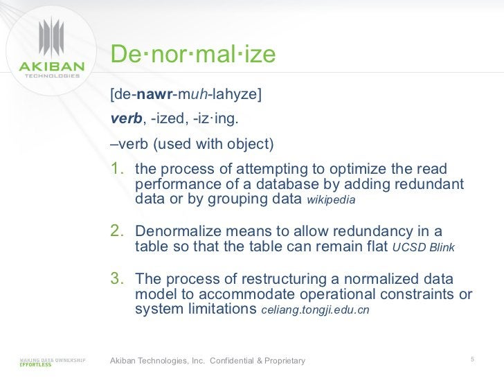 De·nor·mal·ize[de-nawr-muh-lahyze]verb, -ized, -iz·ing.–verb (used with object)1. the process of attempting to optimize t...