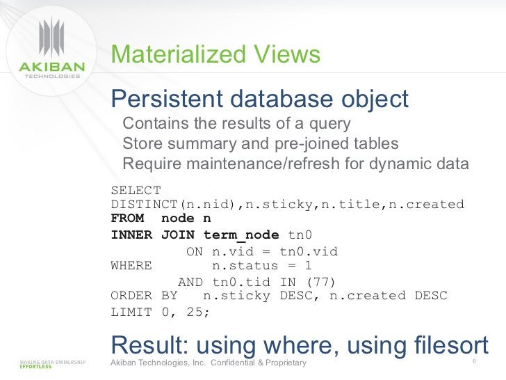 Materialized ViewsPersistent database object   Contains the results of a query   Store summary and pre-joined tables   Req...