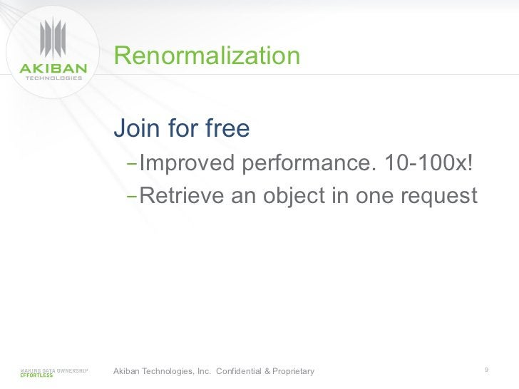 RenormalizationJoin for free   -Improved performance. 10-100x!   -Retrieve an object in one requestAkiban Technologies, ...