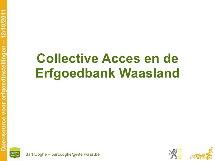 Collective Acces en de Erfgoedbank Waasland
