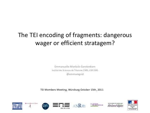 The TEI encoding of fragments: dangerous wager or efficient stratagem? Emmanuelle Morlock-Gerstenkorn Institut des Science...