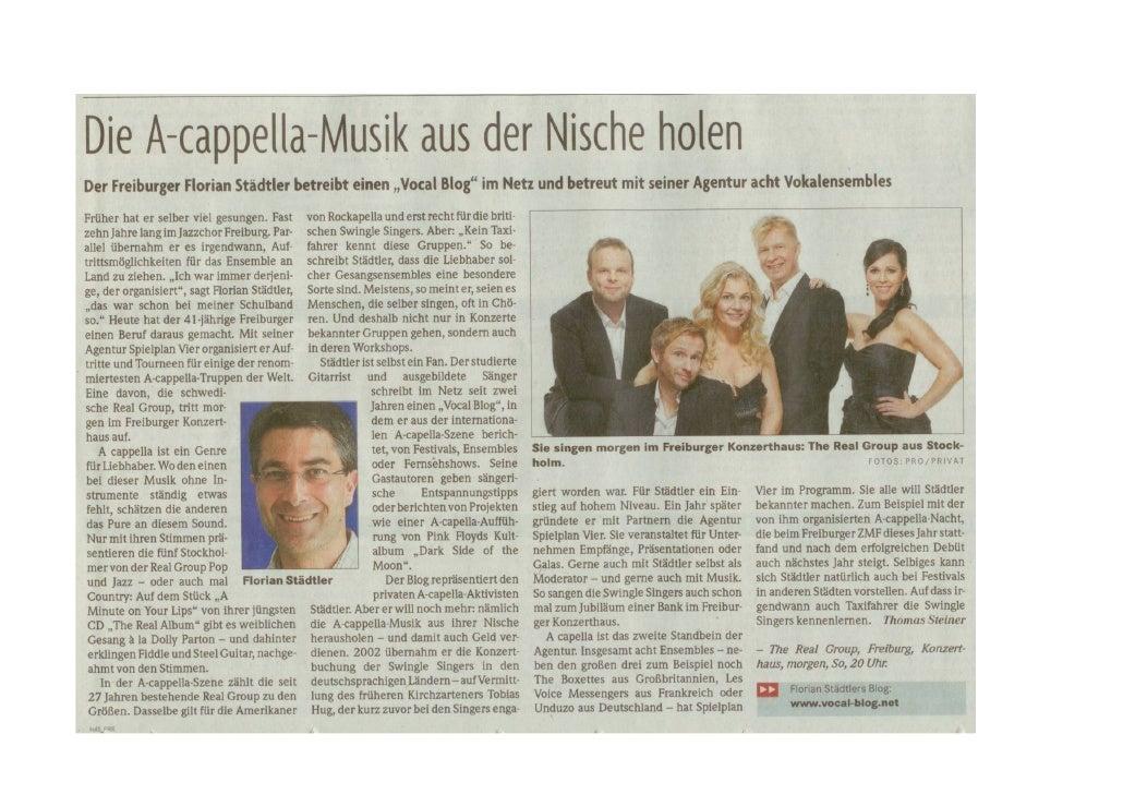 Badische Zeitung Portrait SpielPlanVier & The Real Group