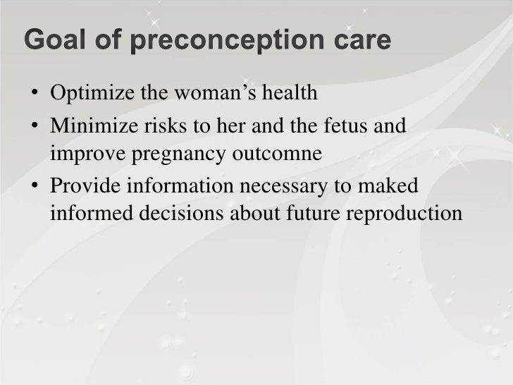 Why preconception care?