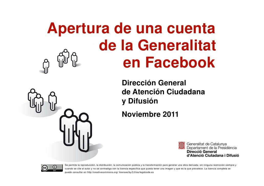 Apertura de una cuenta           de la Generalitat               en Facebook                                              ...