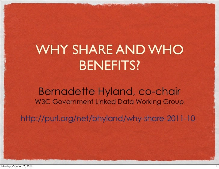 WHY SHARE AND WHO                                BENEFITS?                           Bernadette Hyland, co-chair          ...