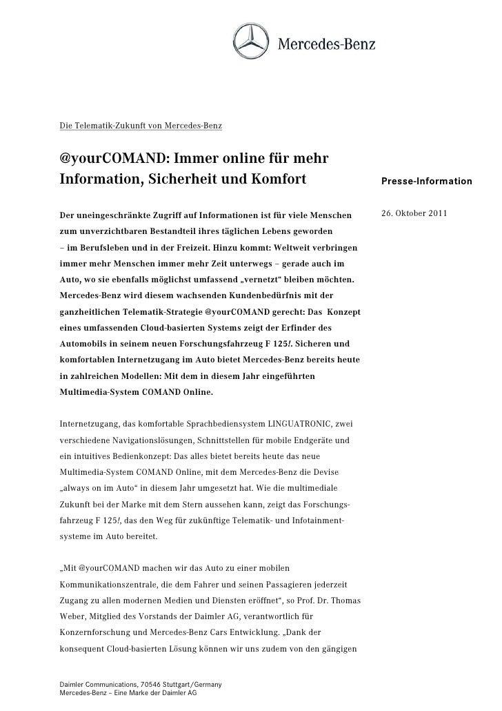 Die Telematik-Zukunft von Mercedes-Benz@yourCOMAND: Immer online für mehrInformation, Sicherheit und Komfort              ...