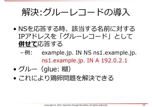Copyright © 2011 Yasuhiro Orange Morishita, all rights reserved. 25 解決:グルーレコードの導入 • NSを応答する時、該当する名前に対する IPアドレスを「グルーレコード」とし...