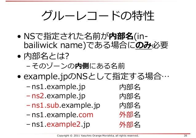 Copyright © 2011 Yasuhiro Orange Morishita, all rights reserved. 26 グルーレコードの特性 • NSで指定された名前が内部名(in- bailiwick name)である場合にの...