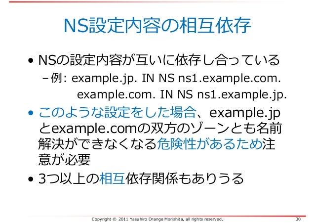 Copyright © 2011 Yasuhiro Orange Morishita, all rights reserved. 30 NS設定内容の相互依存 • NSの設定内容が互いに依存し合っている – 例: example.jp. IN ...