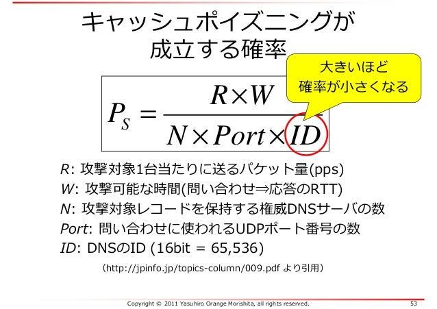 Copyright © 2011 Yasuhiro Orange Morishita, all rights reserved. 53 キャッシュポイズニングが 成⽴する確率 IDPortN WR PS ×× × = R: 攻撃対象1台当たりに...