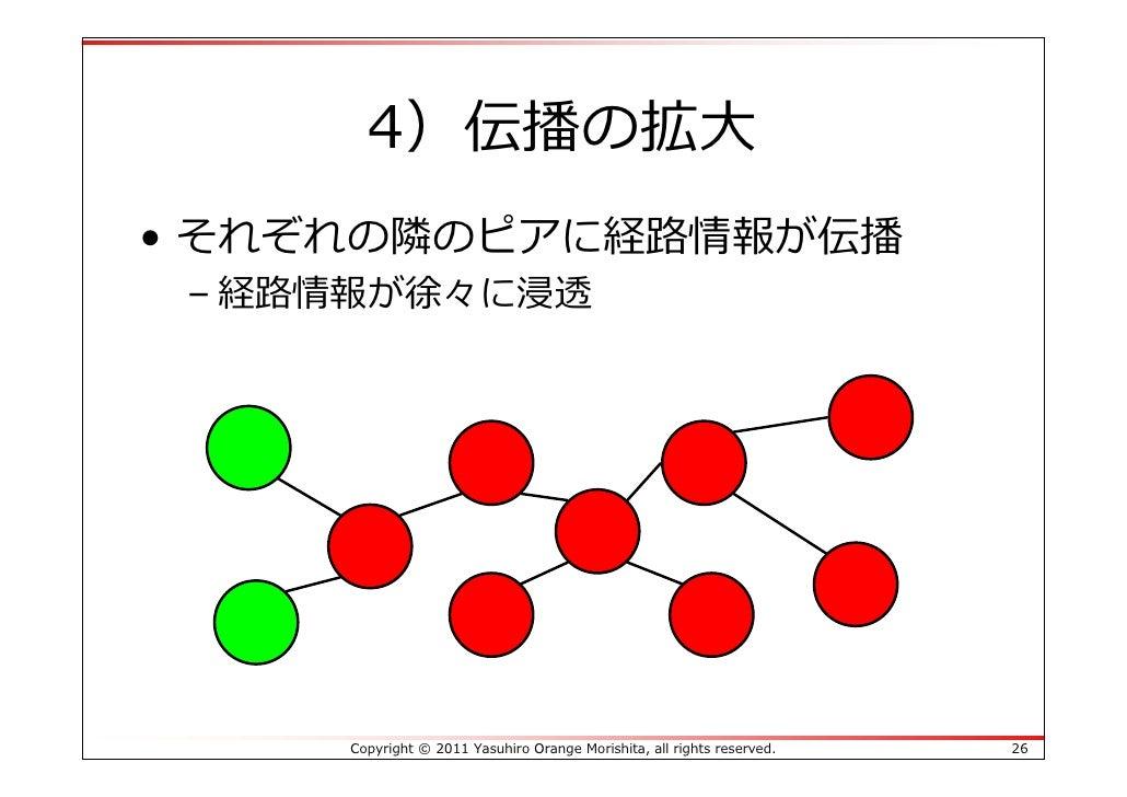 4)伝播の拡⼤• それぞれの隣のピアに経路情報が伝播 – 経路情報が徐々に浸透     Copyright © 2011 Yasuhiro Orange Morishita, all rights reserved.   26