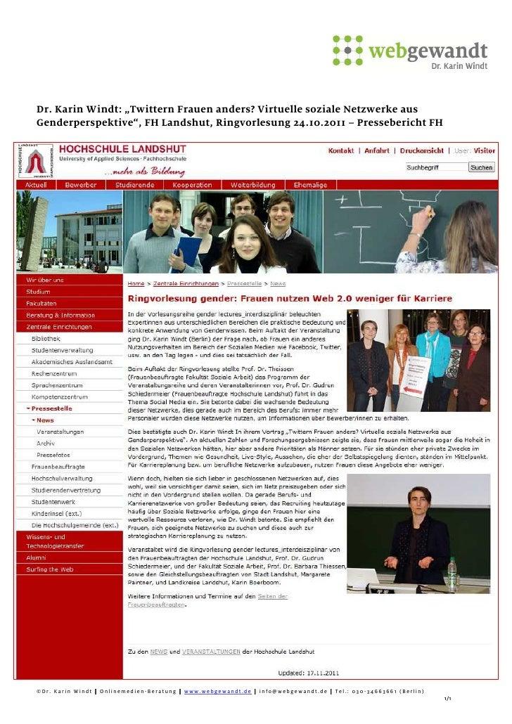 Pressebericht Social Media Vortrag Dr. Karin Windt FH Landshut (24.10.2011)