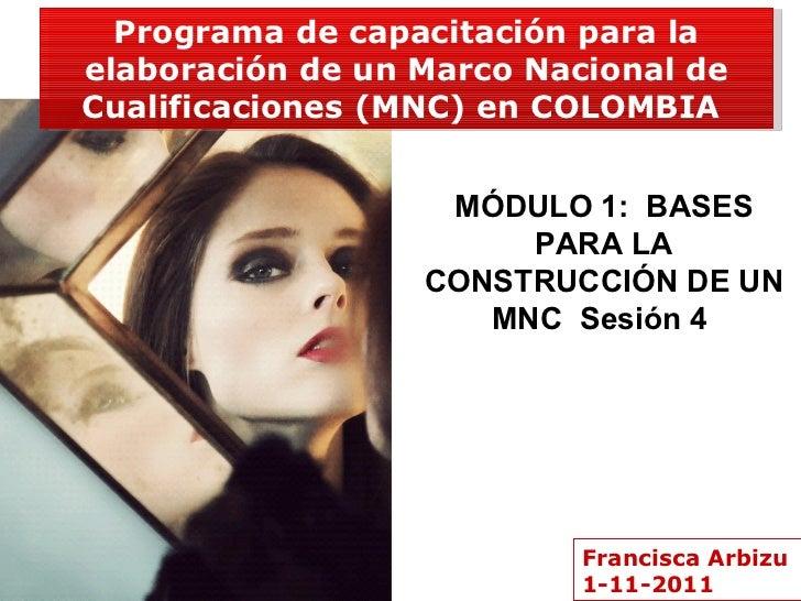 Francisca Arbizu 1-11-2011 Programa de capacitación para la elaboración de un Marco Nacional de Cualificaciones (MNC) en C...