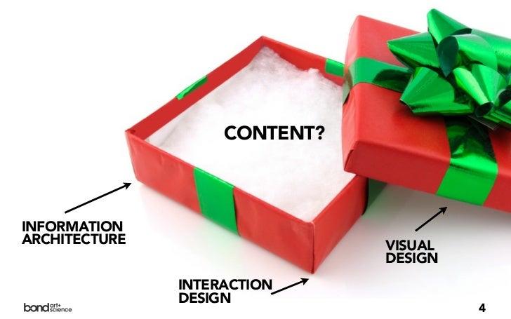 CONTENT?INFORMATIONARCHITECTURE                   VISUAL                               DESIGN               INTERACTION   ...