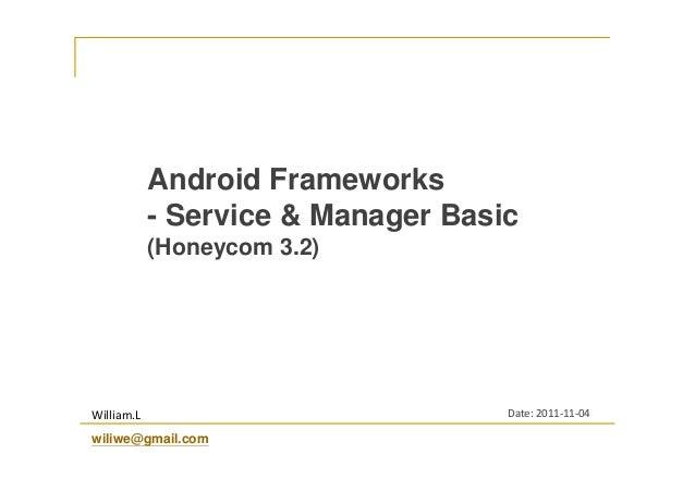 Android Frameworks - Service & Manager Basic (Honeycom 3.2)  William.L wiliwe@gmail.com  Date: 2011-11-04