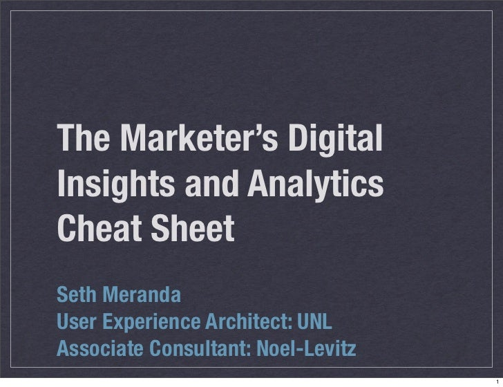 The Marketer's DigitalInsights and AnalyticsCheat SheetSeth MerandaUser Experience Architect: UNLAssociate Consultant: Noe...