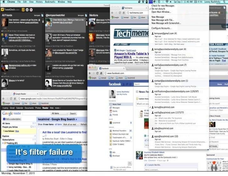 It's filter failureMonday, November 7, 2011
