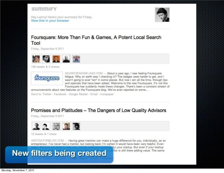 New filters being createdMonday, November 7, 2011