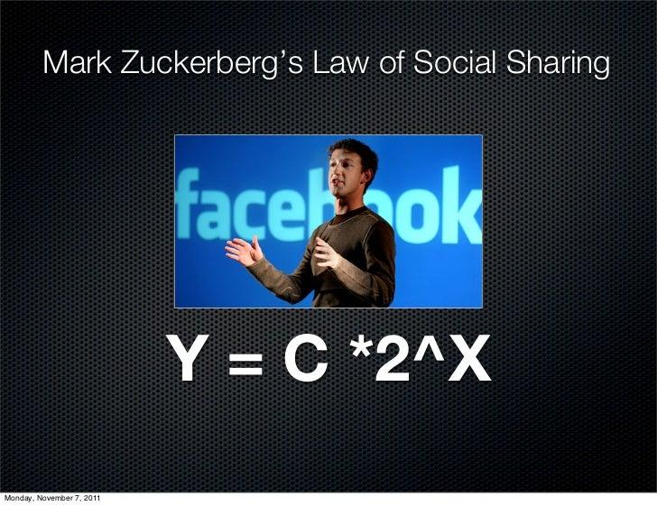 Mark Zuckerberg's Law of Social Sharing                           Y = C *2^XMonday, November 7, 2011