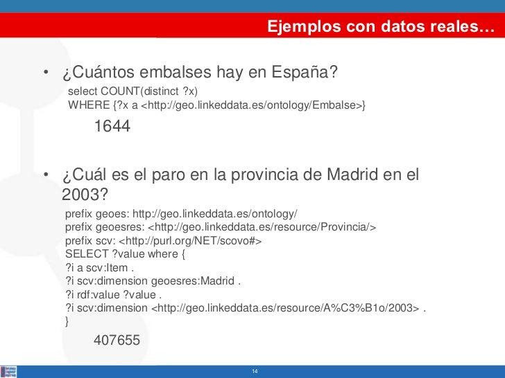 Ejemplos con datos reales…• ¿Cuántos embalses hay en España?   select COUNT(distinct ?x)   WHERE {?x a <http://geo.linkedd...