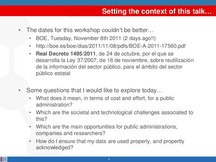 Setting the context of this talk…• The dates for this workshop couldn't be better…   • BOE, Tuesday, November 8th 2011 (2 ...