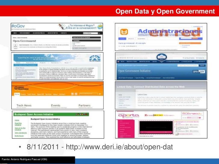 Open Data y Open Government              • 8/11/2011 - http://www.deri.ie/about/open-dataFuente: Antonio Rodríguez Pascual...