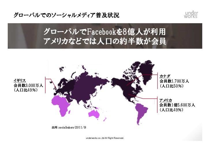 グローバルでのソーシャルメディア普及状況         グローバルでFacebookを8億人が利用         アメリカなどでは人口の約半数が会員                                              ...