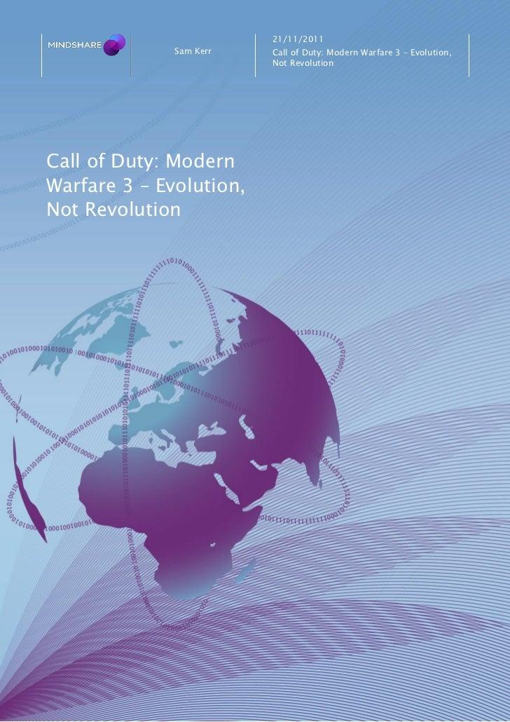21/11/2011              Sam Kerr   Call of Duty: Modern Warfare 3 – Evolution,                         Not RevolutionCall ...