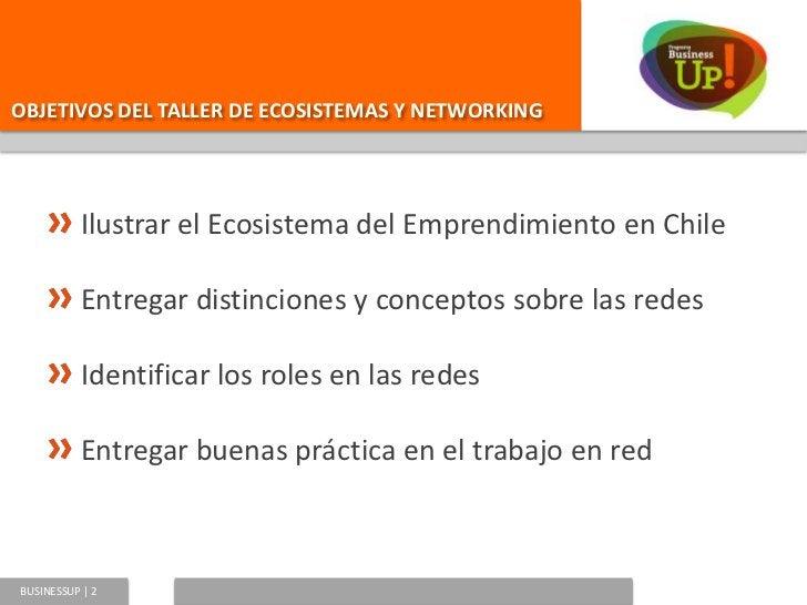OBJETIVOS DEL TALLER DE ECOSISTEMAS Y NETWORKING          Ilustrar el Ecosistema del Emprendimiento en Chile          Entr...