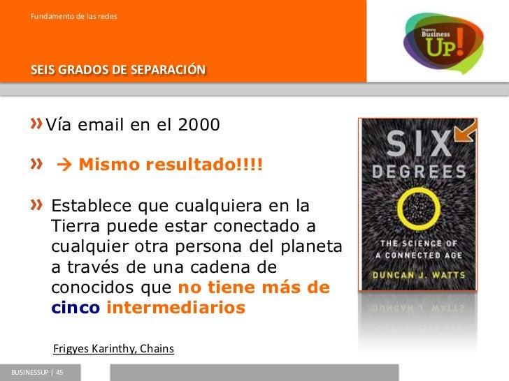 Fundamento de las redes     SEIS GRADOS DE SEPARACIÓNBUSINESSUP   46