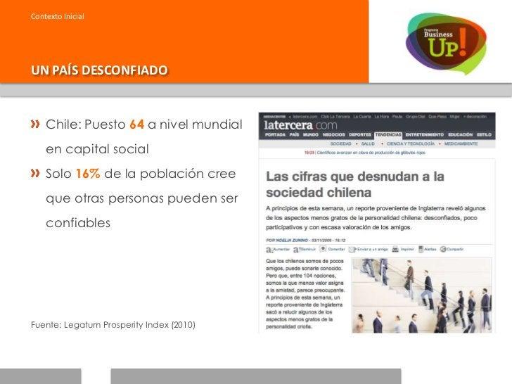 Contexto InicialUN PAÍS DESCONFIADO    Chile: Puesto 64 a nivel mundial    en capital social    Solo 16% de la población c...