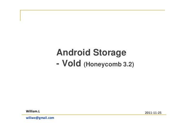 Android Storage - Vold (Honeycomb 3.2) William.L wiliwe@gmail.com 2011-11-25