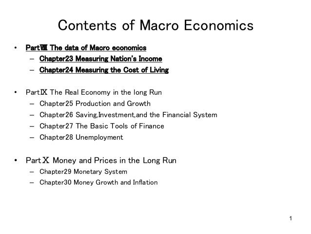 1 Contents of Macro Economics • PartⅧ The data of Macro economics – Chapter23 Measuring Nation's Income – Chapter24 ...