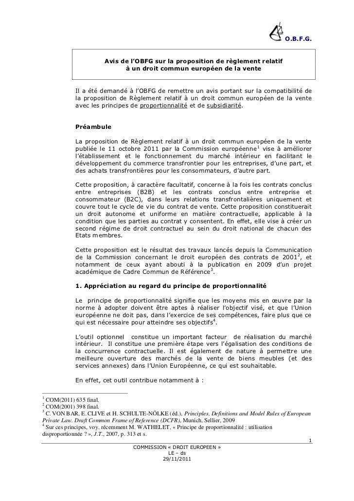 O.B.F.G.                       Avis de l'OBFG sur la proposition de règlement relatif                             à un dro...