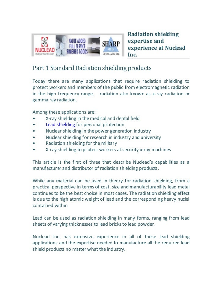 Radiation shielding                                              expertise and                                            ...