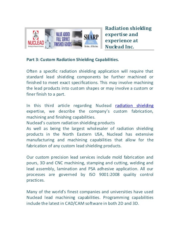 Radiation shielding                                        expertise and                                        experience...