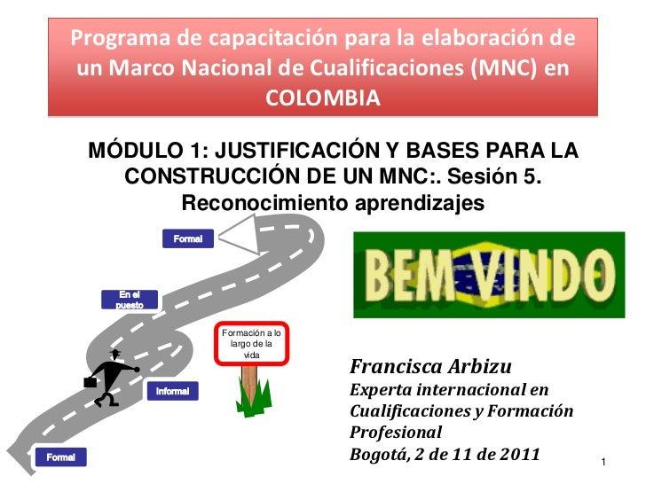 Programa de capacitación para la elaboración de    un Marco Nacional de Cualificaciones (MNC) en                     COLOM...