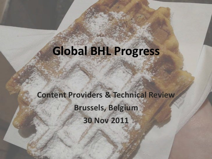 Global BHL ProgressContent Providers & Technical Review         Brussels, Belgium            30 Nov 2011