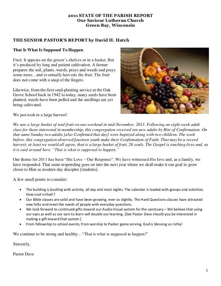 2011 STATE OF THE PARISH REPORT                                       Our Saviour Lutheran Church                         ...