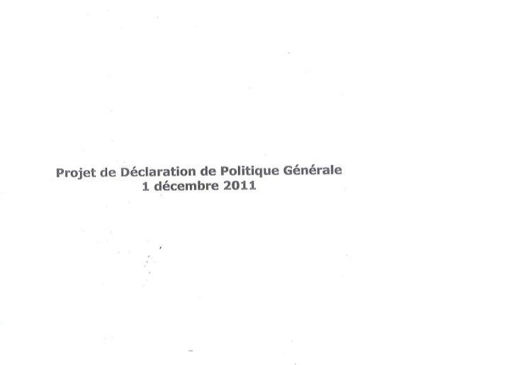 Déclaration de politique générale (1/12/2011)